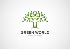 Grön mall för design för logo för cirkelträdvektor Trädgård eller ekologi Arkivfoton