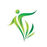 Grön mall för naturvektorlogo vård- tecken Illustration för konditionkvinnabegrepp Mänskligt tecken med sidor Frihetssymbol stock illustrationer