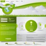 grön mallwebsite för eco Arkivbild