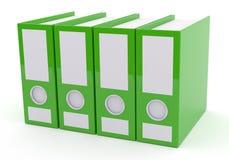 Grön mapp på vit, tolkning 3d Royaltyfri Bild