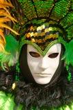 grön maskering venice för karneval Royaltyfria Foton