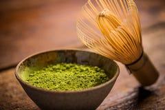 grön matchatea royaltyfria bilder