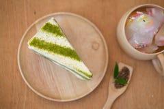 grön matchatea för cake Royaltyfri Bild
