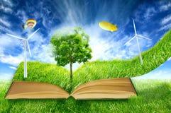 Grön mikrovärld, bok som täckas med för vindenergi för grönt gräs turbiner arkivbilder