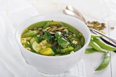 Grön minestrone med grönsaker Arkivfoton