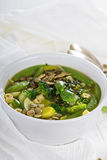 Grön minestrone med grönsaker Arkivbild