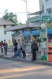 Grön minibussstation i Hong Kong Fotografering för Bildbyråer