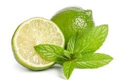 Grön mintkaramell och limefrukter Royaltyfria Bilder
