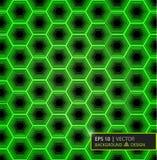 Grön modell för kolfibersexhörning Bakgrund och texturerar för illustrationsköld för 10 eps vektor Arkivfoton