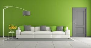 Grön modern vardagsrum vektor illustrationer