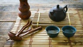 grön morgontea ställ in tea Fotografering för Bildbyråer