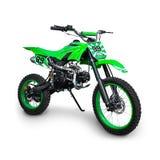 Grön motocrosscykel Royaltyfria Bilder