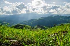 Grön moutain med blå himmel Arkivbilder