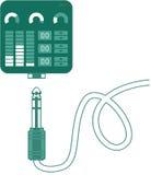 Grön musik koppla-på kontrollant med stålar Fotografering för Bildbyråer