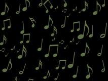 Grön musikalisk anmärkning på den svarta skärmtapeten Arkivbild