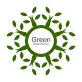 Grön naturlig bio symbol för trädrunda 100% Eco organiskt begrepp Royaltyfri Fotografi
