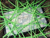 Grön NBN-fiber - optisk kabel i en ostrukturerad röra över en grop med en konkret manhålräkning som visar NBN-ordfläcken arkivfoto