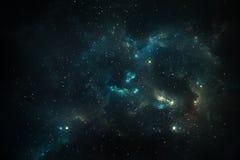 Grön nebulosa, utrymme och universum vektor illustrationer