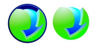 Grön nedladdningsymbolspil och sfär royaltyfri illustrationer