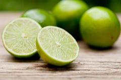 Grön ny limefrukt på träden utomhus- tabellmakrocloseupen royaltyfria foton