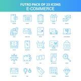 25 grön och blå packe för Futuro E-kommers symbol royaltyfri illustrationer