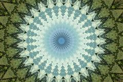 Grön och blå rund etnisk prydnad royaltyfri illustrationer