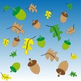 Grön och brun ekollon Stock Illustrationer