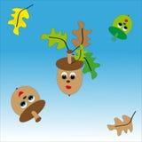 Grön och brun ekollon på blåvit bakgrund Vektor Illustrationer