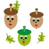 Grön och brun ekollon på vit bakgrund Vektor Illustrationer