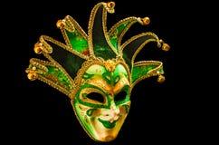 Grön och guld- karnevalmaskering royaltyfri bild