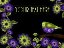 Grön och purpurfärgad fågel- och blommabakgrund Fotografering för Bildbyråer