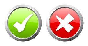 Grön och röd knapp för kontrollfläck Arkivbilder