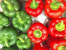 Grön och röd spansk peppar Arkivfoto