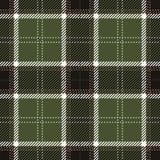 Grön och svart sömlös skotsk modell för tartanpläd Stock Illustrationer