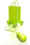 grön online-shopping Fotografering för Bildbyråer