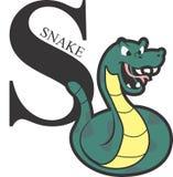 Grön orm för djurt alfabet Fotografering för Bildbyråer