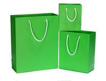 Grön påse för gåva för shoppingpåse Arkivfoton