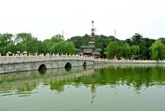 Grön pagod för trädgårds- vit Fotografering för Bildbyråer