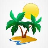 Grön palmträd på den tropiska ön också vektor för coreldrawillustration lura royaltyfri illustrationer