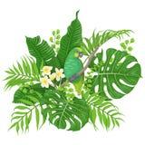 Grön papegoja och tropiska växter Royaltyfri Foto