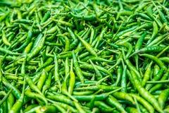 Grön paprica i traditionell grönsakmarknad i Indien Arkivfoto