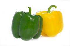 grön paprika pepprar yellow Arkivbilder