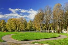 Grön park med den blåa skyen Royaltyfria Bilder