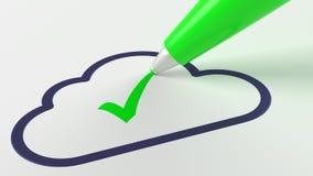 Grön penna som sätter en checkmark i en mörk compu för molnsymbolmoln Stock Illustrationer