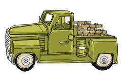 Grön pickup Tin Metal Car Toy Arkivbilder