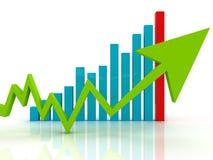 Grön pil på affärsgraf stock illustrationer