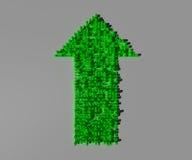 Grön pil som visar förhöjningen av fördelar Arkivfoto