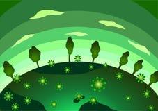 Grön planet, blommor och träd Royaltyfri Foto