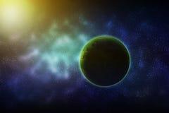 Grön planet i galaxen Arkivbilder