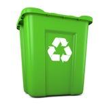 Grön plast- återanvänder facket Royaltyfri Foto